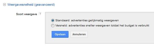 Google AdWords weergavesnelheid