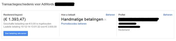 Google Adwords handmatige betalingen