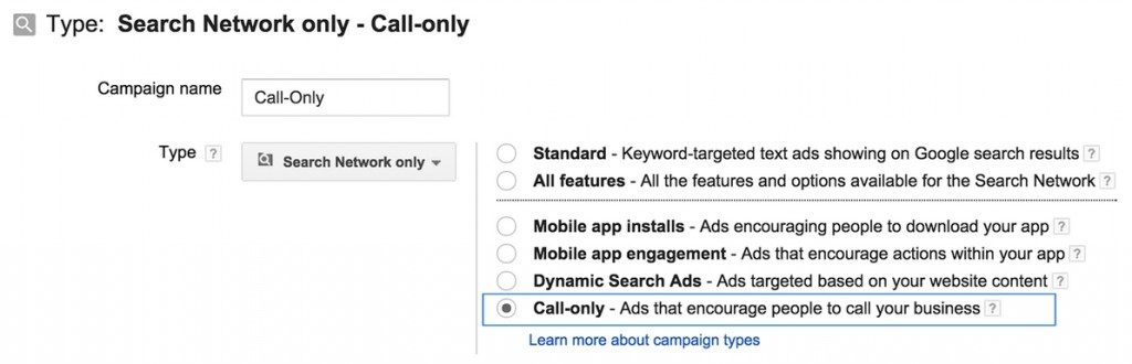 Google AdWords Call-only campagnes