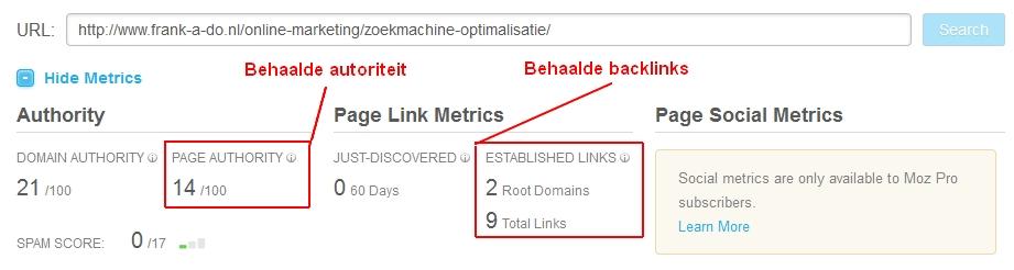Linkprofiel zoekmachine optimalisatie pagina