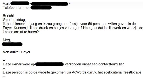 Voorbeeld lead e-mail
