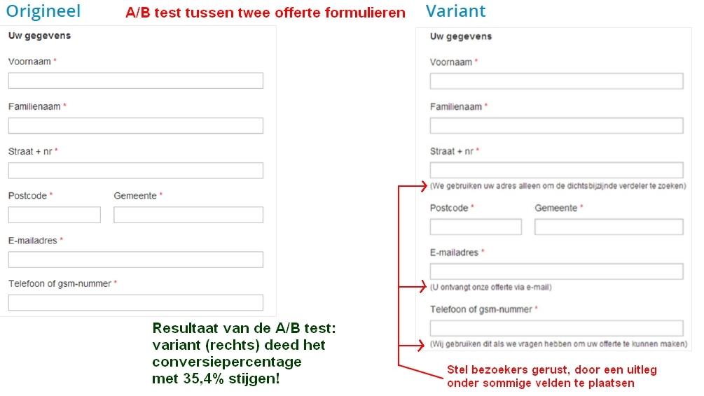 A/B test formulier
