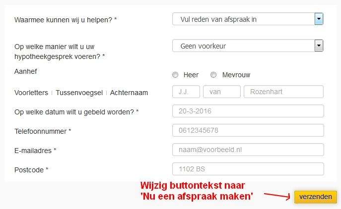 Call-to-action tekst formulier