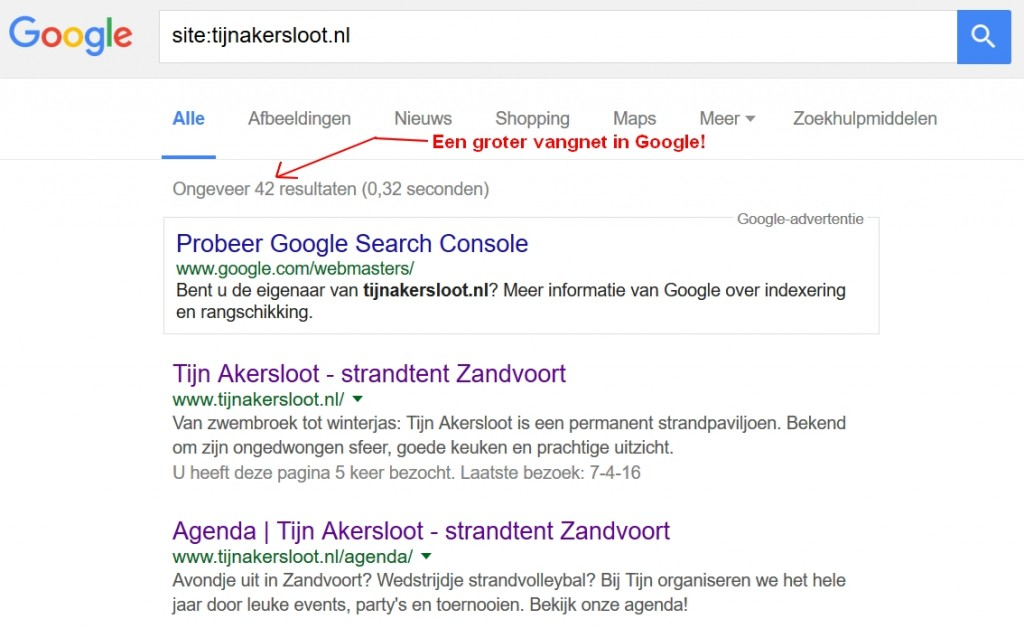 Single Page website indexatie