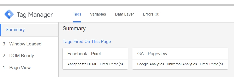 Google Tag Manager Preview en Debug modus